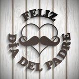 Καρδιά με ένα mustache και ένα κείμενο feliz dia del padre Στοκ Φωτογραφία