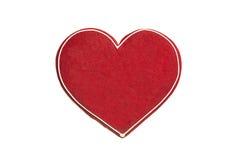Καρδιά μελοψωμάτων που απομονώνεται στο άσπρο υπόβαθρο Στοκ εικόνες με δικαίωμα ελεύθερης χρήσης