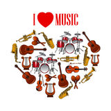 Καρδιά με τα μουσικά όργανα για το σχέδιο τεχνών απεικόνιση αποθεμάτων