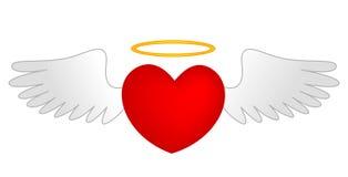 Καρδιά με τα φτερά γωνίας και το χρυσό φωτοστέφανο Στοκ εικόνες με δικαίωμα ελεύθερης χρήσης
