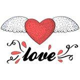 Καρδιά με τη ευχετήρια κάρτα αγάπης φτερών Στοκ Εικόνες