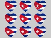 Καρδιά με τη σημαία της Κούβας Αγαπώ την Κούβα διάνυσμα διανυσματική απεικόνιση