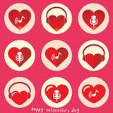 Καρδιά με το σύνολο εικονιδίων μουσικής Στοκ εικόνα με δικαίωμα ελεύθερης χρήσης