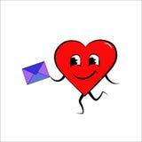 Καρδιά με το φάκελο Στοκ Εικόνα
