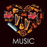 Καρδιά μουσικής αγάπης φιαγμένη επάνω από μουσικά όργανα ελεύθερη απεικόνιση δικαιώματος