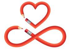 Καρδιά μολυβιών και σημάδι απείρου, διανυσματικό σύνολο Στοκ Φωτογραφίες
