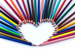 Καρδιά, μολύβια χρώματος Στοκ εικόνα με δικαίωμα ελεύθερης χρήσης