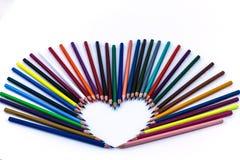 Καρδιά, μολύβια χρώματος Στοκ εικόνες με δικαίωμα ελεύθερης χρήσης