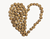 Καρδιά ξύλων καρυδιάς που διαμορφώνεται στο άσπρο υπόβαθρο Στοκ Εικόνες