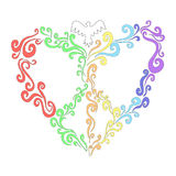 Καρδιά ουράνιων τόξων κρητιδογραφιών των στριμμένων γραμμών με τα περιστέρια Ελεύθερη απεικόνιση δικαιώματος