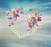 Καρδιά λουλουδιών, που απομονώνεται Στοκ φωτογραφίες με δικαίωμα ελεύθερης χρήσης