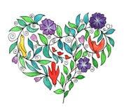 Καρδιά-λουλούδια και πουλιά Ελεύθερη απεικόνιση δικαιώματος