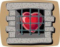 Καρδιά πίσω από ένα παράθυρο με τους φραγμούς ελεύθερη απεικόνιση δικαιώματος