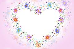 καρδιά πλαισίων λουλουδιών Στοκ Φωτογραφία