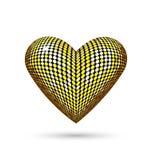 Καρδιά που απομονώνεται χρυσή στο λευκό απεικόνιση αποθεμάτων