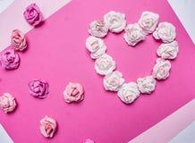 Καρδιά, που ευθυγραμμίζεται με τα τριαντάφυλλα εγγράφου διακοσμήσεις μιας στις μπλε υποβάθρου τοπ άποψης κοντά επάνω για τη τοπ ά Στοκ Φωτογραφία