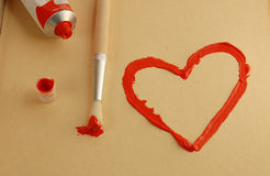 καρδιά που χρωματίζεται Στοκ Φωτογραφίες