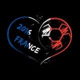 Καρδιά ποδοσφαίρου της Γαλλίας 2016 διανυσματική απεικόνιση