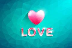 Καρδιά πολυγώνων και κείμενο αγάπης Αφηρημένη απεικόνιση αγάπης Στοκ Εικόνες