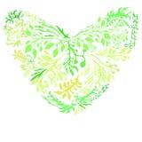 Καρδιά πράσινου χλοών που απομονώνεται Ελεύθερη απεικόνιση δικαιώματος