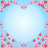 Καρδιά πλαισίων από τα λουλούδια, κόκκινο, ρόδινο, μπλε υπόβαθρο, μπλε, καρδιά-διαμορφωμένος, πολύχρωμος διαφορετικός, λουλούδια, ελεύθερη απεικόνιση δικαιώματος
