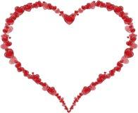 Καρδιά πλαισίων φιαγμένη από καρδιές για την ημέρα ενός βαλεντίνου ή την ημέρα της μητέρας Στοκ Εικόνες
