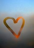 Καρδιά σε ένα παράθυρο Στοκ Φωτογραφίες