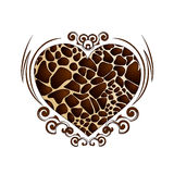 Καρδιά σε μια διακόσμηση με ένα giraffe χρώμα Στοκ φωτογραφία με δικαίωμα ελεύθερης χρήσης