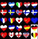 καρδιά σημαιών συλλογής Στοκ Εικόνα