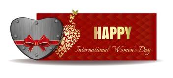 Καρδιά σιδήρου που δένεται με την κόκκινη κορδέλλα Έμβλημα ημέρας των διανυσματικών γυναικών Στοκ εικόνες με δικαίωμα ελεύθερης χρήσης