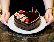 καρδιά σοκολάτας κέικ Στοκ εικόνες με δικαίωμα ελεύθερης χρήσης