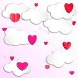 Καρδιά στα σύννεφα στον ουρανό με τα βέλη Στοκ Φωτογραφία