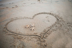 Καρδιά στην άμμο Στοκ φωτογραφία με δικαίωμα ελεύθερης χρήσης