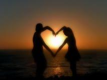 Καρδιά στο ηλιοβασίλεμα στοκ εικόνες