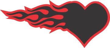 Καρδιά στο διανυσματικό σχέδιο απεικόνισης πυρκαγιάς Στοκ Φωτογραφία
