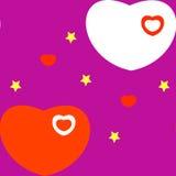 Καρδιά στο πορφυρό υπόβαθρο Στοκ Εικόνες