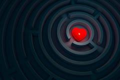 Καρδιά στο σκοτεινό λαβύρινθο, τρισδιάστατη απεικόνιση Στοκ Εικόνες