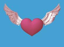 Καρδιά συμβόλων χάραξης με την απεικόνιση φτερών Στοκ Φωτογραφία