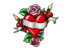 Καρδιά την κορδέλλα που περιβάλλεται με από τα τριαντάφυλλα απεικόνιση αποθεμάτων