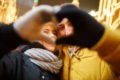 Καρδιά του ζευγαριού αγάπης φοινικών Στοκ Εικόνες