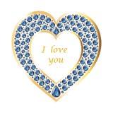 Καρδιά του σαπφείρου σε μια χρυσή διανυσματική κάρτα πλαισίων ελεύθερη απεικόνιση δικαιώματος