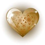 Καρδιά του χρυσού σε ένα άσπρο υπόβαθρο Στοκ Εικόνα