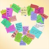 Καρδιά των σημειώσεων αγάπης. (Διάνυσμα) Στοκ Εικόνα
