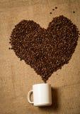Καρδιά των φασολιών καφέ που πηγαίνουν από την άσπρη κούπα που βρίσκεται στον καμβά Στοκ εικόνα με δικαίωμα ελεύθερης χρήσης