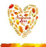 Καρδιά των φύλλων φθινοπώρου watercolor Στοκ εικόνα με δικαίωμα ελεύθερης χρήσης