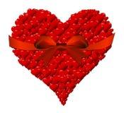 Καρδιά φιαγμένη από καρδιές για την ημέρα ενός βαλεντίνου με το κόκκινο τόξο Στοκ Εικόνα
