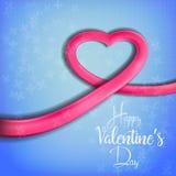 Καρδιά φιαγμένη από φωτεινή κορδέλλα για την ημέρα του βαλεντίνου (14 Φεβρουαρίου) Στοκ Εικόνες