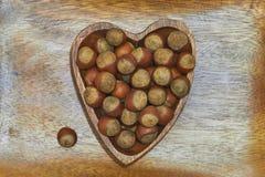 Καρδιά φουντουκιών στοκ φωτογραφία