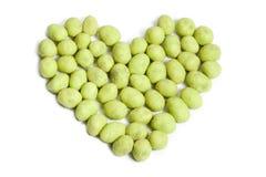 Καρδιά φυστικιών Wasabi Στοκ εικόνες με δικαίωμα ελεύθερης χρήσης