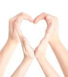 καρδιά χεριών που διαμορ&phi Στοκ Φωτογραφία